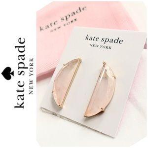NWT Kate Spade half moon stone studs gold blush